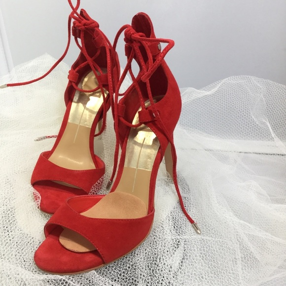 Dolce Vita Shoes - DOLCE VITA ANKLE WRAP SUEDE HEEL SANDALS RED